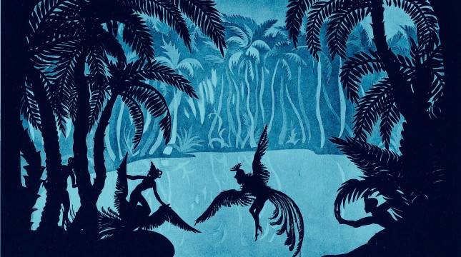 Peri Banu, ruler of the islands of Wak Wak, with her maids in The Adventures of Prince Achmed. Still courtesy of Milestone Films.